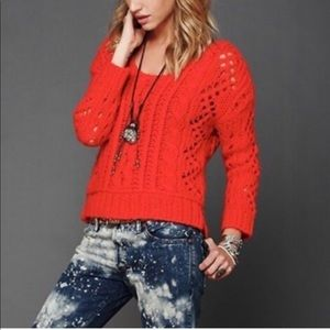 Free people cable knit sweater Red medium